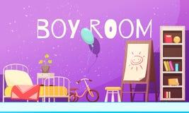 Ilustração dos desenhos animados da sala do menino Imagens de Stock Royalty Free