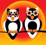 Ilustração dos desenhos animados de duas corujas Fotos de Stock Royalty Free