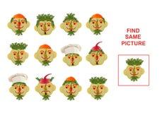 Ilustração dos desenhos animados de encontrar a mesma imagem educacional Foto de Stock