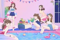 Ilustração dos desenhos animados de 5 meninas adolescentes asiáticas bonitos que têm o divertimento e de festa na piscina no gran ilustração royalty free