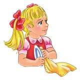 Ilustração dos desenhos animados de pratos de ajuda de uma lavagem da menina ilustração do vetor