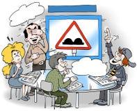 A ilustração dos desenhos animados de um estudante lá aprende a licença do abou Fotografia de Stock