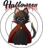 Ilustração dos desenhos animados de um gatinho do vampiro por um Dia das Bruxas ilustração royalty free