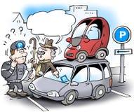 Ilustração dos desenhos animados de um homem picante mais idoso que estacionasse seu carro pequeno no telhado de um carro grande  Imagem de Stock Royalty Free