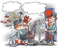 A ilustração dos desenhos animados de um mecânico lá obtém ao álcool do mush Foto de Stock Royalty Free