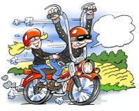 Ilustração dos desenhos animados de um motociclista feliz Fotos de Stock Royalty Free