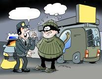 Ilustração dos desenhos animados de um oficial que fale com um bandido Foto de Stock