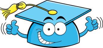 Tampão da graduação dos desenhos animados que dá os polegares acima Fotografia de Stock