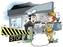 Ilustração dos desenhos animados de uma busca do homem do mecânico para o trabalho Imagem de Stock Royalty Free