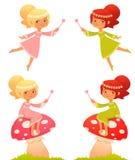 Ilustração dos desenhos animados de uma menina feericamente pequena Imagem de Stock