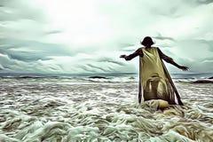 Ilustração dos desenhos animados de uma mulher que anda apenas no mar na frente de um céu nebuloso dramático com luz divina, fuzi ilustração do vetor