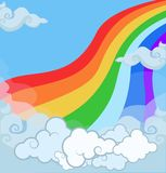 Ilustração dos desenhos animados do arco-íris mágico da paisagem da fantasia no céu nebuloso ilustração royalty free