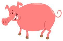 Ilustração dos desenhos animados do caráter do animal de exploração agrícola do porco Foto de Stock