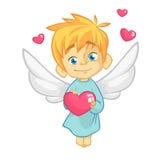 Ilustração dos desenhos animados do caráter do cupido para o dia do ` s do Valentim do St isolado no branco Vetor imagem de stock