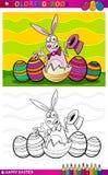 Ilustração dos desenhos animados do coelhinho da Páscoa para colorir Fotos de Stock Royalty Free