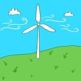 Ilustração dos desenhos animados do conceito das energias eólicas Imagens de Stock
