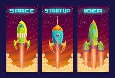 ilustração dos desenhos animados do conceito startup do projeto do negócio, o lançamento de um projeto de investimento novo Fotografia de Stock Royalty Free