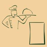 Ilustração dos desenhos animados do cozinheiro chefe com bandeja Fotografia de Stock Royalty Free