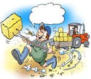 Ilustração dos desenhos animados do fazendeiro feliz de A com botas grandes Imagem de Stock