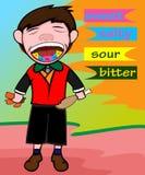Ilustração dos desenhos animados do gosto diferente na língua ilustração royalty free