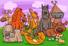 Ilustração dos desenhos animados do grupo dos caráteres do cão Fotos de Stock