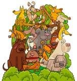 Ilustração dos desenhos animados do grupo dos caráteres do cão Imagens de Stock
