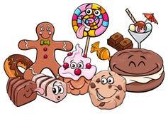 Ilustração dos desenhos animados do grupo dos caráteres dos doces Foto de Stock