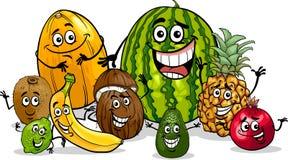 Ilustração dos desenhos animados do grupo dos frutos tropicais Foto de Stock Royalty Free