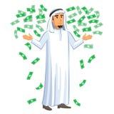 Ilustração dos desenhos animados do homem de negócios árabe com as notas de queda Fotografia de Stock