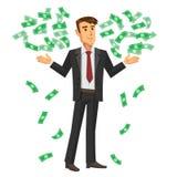 Ilustração dos desenhos animados do homem de negócios com as notas de queda Foto de Stock