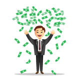 Ilustração dos desenhos animados do homem de negócios com as notas de queda Vect Foto de Stock Royalty Free