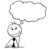 Ilustração dos desenhos animados do homem de negócios Thinking com discurso vazio B ilustração stock