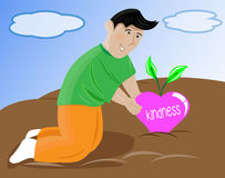 Ilustração dos desenhos animados do homem feliz que colhe o amor ilustração stock