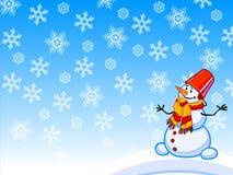 A ilustração dos desenhos animados do inverno de um boneco de neve com flocos de neve Foto de Stock