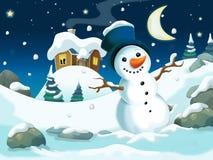 Ilustração dos desenhos animados do inverno para as crianças Imagens de Stock Royalty Free