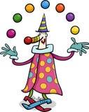 Ilustração dos desenhos animados do juggler do palhaço de circo Imagens de Stock