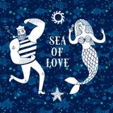 Ilustração dos desenhos animados do mar com marinheiro e sereia ilustração stock