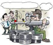 Ilustração dos desenhos animados do mecânico de A com uma ferramenta especial da arma de graxa que olhe como uma bazuca militar Imagens de Stock Royalty Free