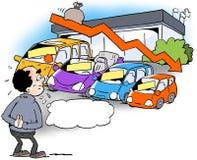 Ilustração dos desenhos animados do negociante de A que olha uma tendência de diminuição das vendas Fotografia de Stock