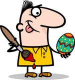 Ilustração dos desenhos animados do ovo da páscoa da pintura do homem Fotografia de Stock