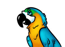 Ilustração dos desenhos animados do papagaio do pássaro Foto de Stock Royalty Free