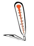 Ilustração dos desenhos animados do termômetro da silhueta Fotografia de Stock Royalty Free
