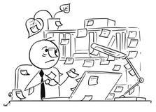 A ilustração dos desenhos animados do trabalhador de escritório com vara nota Everywher Fotos de Stock Royalty Free