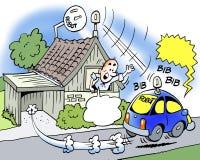 Ilustração dos desenhos animados do veículo automotor do robô de A que corre sem o motorista Fotografia de Stock Royalty Free