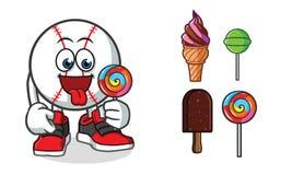 Ilustração dos desenhos animados do vetor da mascote do gelado do basebol ilustração royalty free