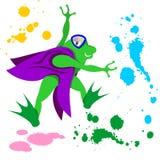 Ilustração dos desenhos animados do vetor da rã com pintura da veste ilustração do vetor