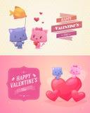 Ilustração dos desenhos animados do vetor de gatos bonitos dos pares Imagens de Stock