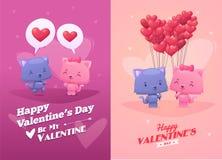 Ilustração dos desenhos animados do vetor de gatos bonitos dos pares Fotografia de Stock Royalty Free