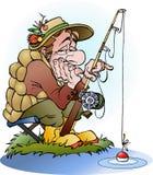 Ilustração dos desenhos animados do vetor de um pescador desapontado Fotos de Stock