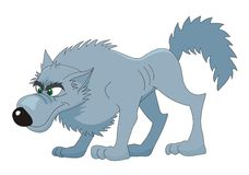 Ilustração dos desenhos animados do vetor do lobo Imagens de Stock